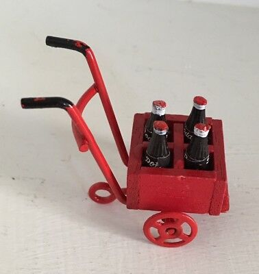 STORE DOLLHOUSE MINIATURE RED METAL HANDCART with BOX of SODA POP   #20046