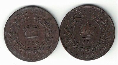 Newfoundland 1880 Wide 0 And 1880 Low 0 Queen Victoria Large Cents Pennies