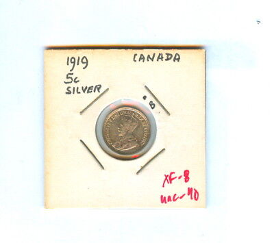 1919 Five Cents Canada Silver Coin