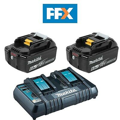 Makita BL1860X2DC18RD 2 x 18v 6Ah LXT Li-ion Genuine Makstar Battery and Charger