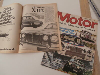 jaguar xj12 article 1972  magazine extracts  + xj advert