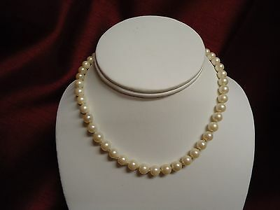 ArtDeco Sterling Silver Filigree Clasp Cultured Freshwater Pearl Choker Necklace