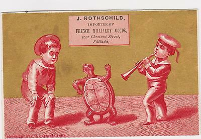 RARE 1880s J ROTHSCHILD MILLINERY VICTORIAN TRADE CARD PHILADELPHIA TURTLE DANCE
