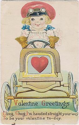 Rare Posted Divided Back  Valentine Greetings Postcard With Girl Driving Car Wow