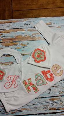 Personalized Baby Gown Hat & Bib Set (Girl) Coral