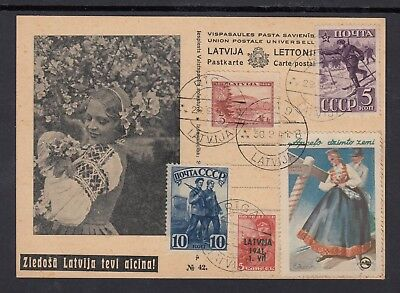 LATVIA 1941 POSTCARD with Russian & Latvian stamps and tourist label, not sent