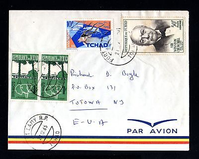 16717-TCHAD REPUBLIC-AIRMAIL COVER FORT LAMY to TOTOWA (usa)1965.Afrique.
