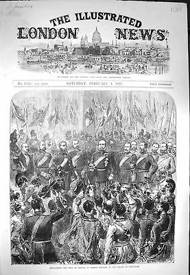 Old Antique Print 1871 King Prussia German Emperor Palace Versailles