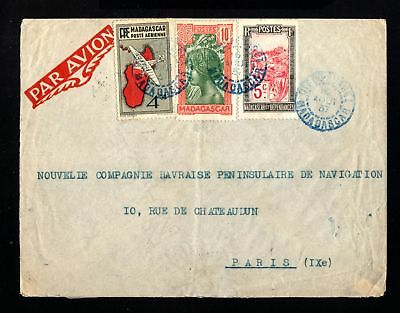 17055-MADAGASCAR-AIRMAIL COVER DIEGO SUAREZ to PARIS (france).1937.WWII.FRENCH.