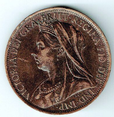 Great Britain 1901 Penny Queen Victoria Seated Britannia Decent Grade