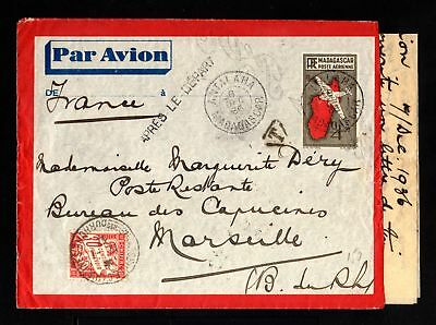 15258-MADAGASCAR-AIRMAIL COVER ANTAIAHA to MARSEILLE(france)1936.FRENCH colonies