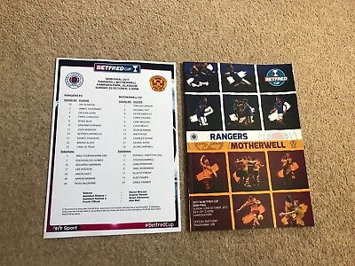Motherwell v Rangers Oct 22nd 2017 Scottish League Cup Semi Final  *POSTING NOW*