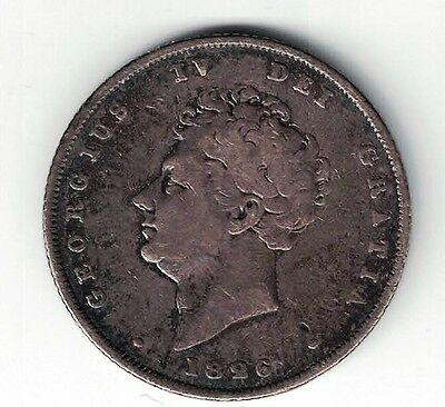 1826 Shilling Great Britain King George Iv Sterling Silver Coin