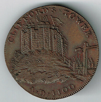 1795 Conder Half Penny Uk Clifford's Tower York Minister Cathedral High Grade