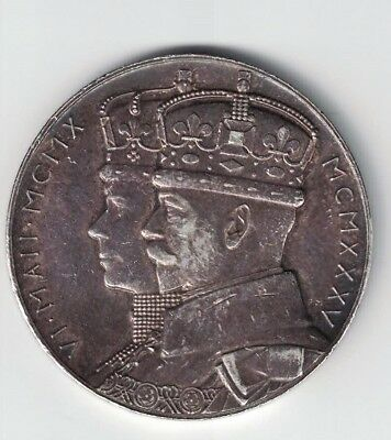 STET FORTUNA DOMUS 1910 - 1935 JUBILEE GEORGE V MARY SILVER MEDAL 33mm