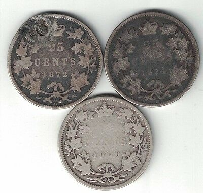 3 X Canada 25 Cent Quarters Queen Victoria Sterling Silver Coin 1872H 1874H 1900