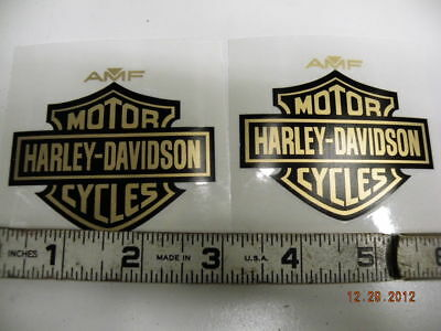 Amf Gas Tank Decals Stickers Harley Fx Low Rider Supe Sportster Bar Shield Gold