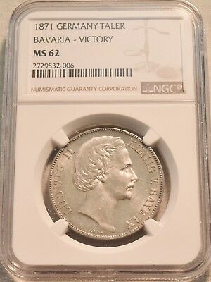 1871 Germany Taler NGC MS 62 Bavaria Victory, Sharp Uncirculated Silver Coin