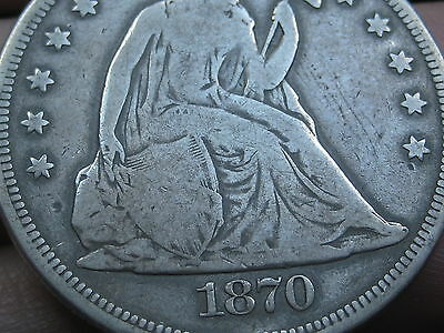 1870 Seated Liberty Silver Dollar- VG Details, Scarce Date