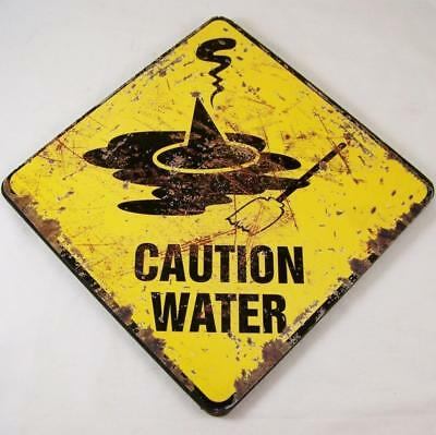 Wizard of Oz Wicked Witch Caution Water Sign Halloween Plaque Hat Broom Wood