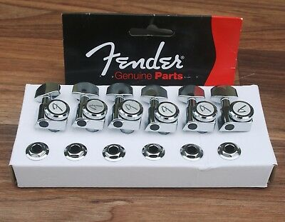 NEW Genuine Fender 'F' Logo Locking Tuners/Machine Heads - Chrome - 0990818100