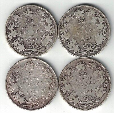 4 X Canada 25 Cents Quarters King George V .800 Silver Coins 1920 1928 1929 1930