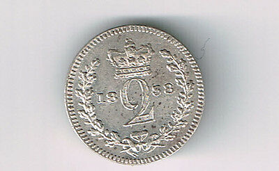 Great Britain 1838 2 Pence Victoria Sterling Silver Coin Nice Grade