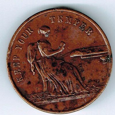 1846 KEEP YOUR TEMPER VICTORIA REGINA MEDAL 22mm