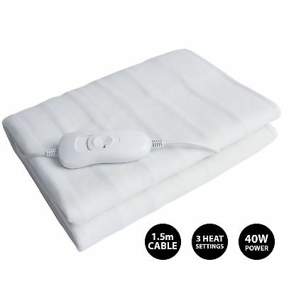 Electric Heated Blanket 3 Heat Setting Home Washable White Single, Double & King