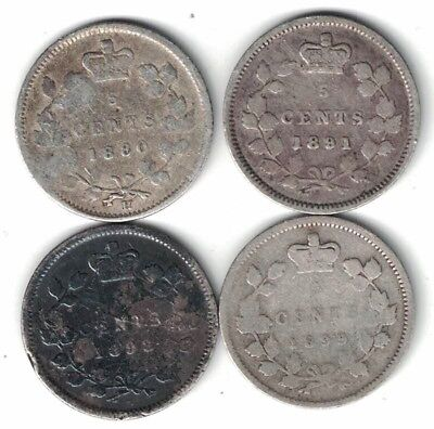 4 X Canada 5 Cents Queen Victoria Sterling Silver Coins 1880H 1891 1893 1899