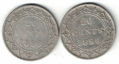 Newfoundland Twenty Cents Victoria Sterling Silver Coins 1896 Small And Large 96