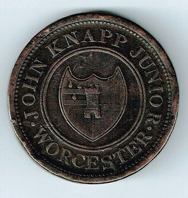1813 WORCHESTER JOHN KNAPP JUNIOR ONE PENNY TOKEN PAYABLE IN CASH NOTES 36mm