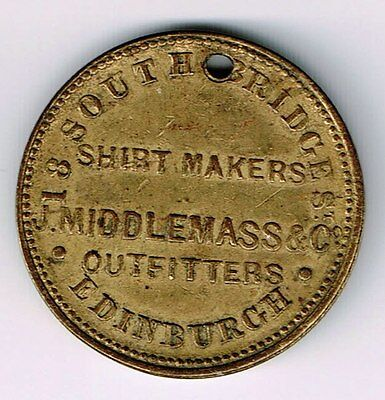 Scotland Edinburgh J Middlemass & Co Shirt Maker Clothier Hatters Brass Farthing