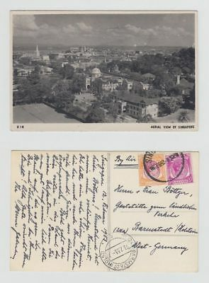 Straits Settlements Old Postcard Singapore Aerial View To West Germany 1953 !!
