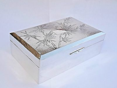 SPLENDID VINTAGE CHINESE EXPORT SOLID SILVER CIGARETTE CIGAR BOX c1920
