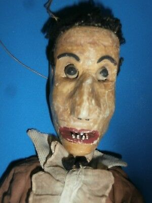 antique  WOOD folk Art CARVED  articulated   UGLY  MAN PUPPET moving  eyes