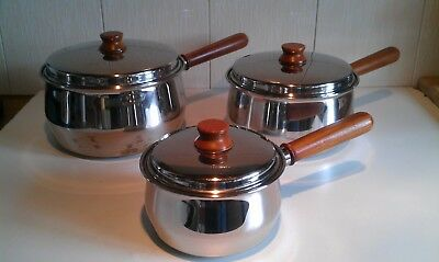 Set of 3 Vintage PRESTIGE Stainless Steel with Copper Bottoms Saucepans + Lids