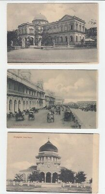 3 X Straits Settlements Old Postcard Singapore Library Mosque !!
