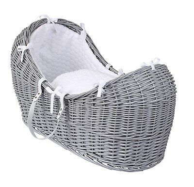 Clair de Lune CL5540GWE Marshmallow Wicker Noah Pod Moses Basket - Grey/White A