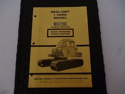 Neal Unit 1 Yard Model Nu1720C Overlander Basic Machine Spe 9/4508 Crane Leaflet