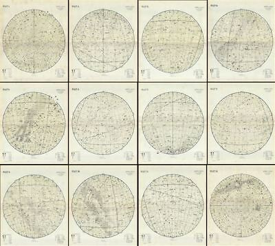 1870 Proctor Map or Chart of the Visible Stars (Set of 12 Maps)