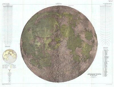 1961 U.S.G.S. Physical Map of the Moon (wall map) - landmark Lunar map!