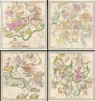 1835 Burritt - Huntington Map of the Constellations by Month (4 Maps)