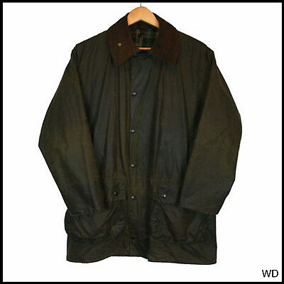Vintage Barbour Border Country Green Wax Jacket Coat C 38 Small