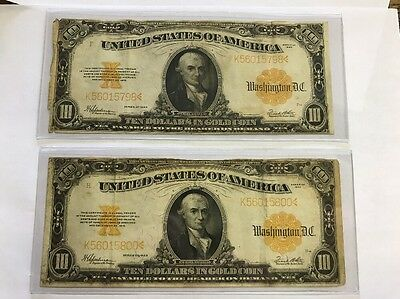 2 Notes 1922 $10 Gold Certificate LARGE SIZE NOTE SERIAL 2 DIGITS APART