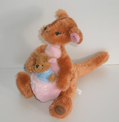 Disney Store Winnie the Pooh Plush  Kanga & Roo  Official Disney Stamp 10 inch