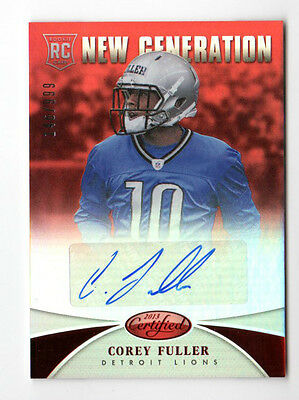 Corey Fuller Nfl 2013 Certified Mirror  (Cdetroit Lions ) Rookie Auto # /999