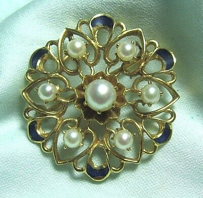 "14K Gold Pin / Pendant w Pearls & Enamel  7.3 grams 1 1/4"" diameter"