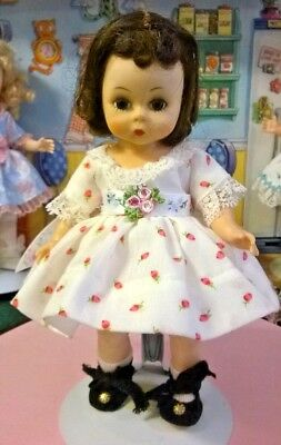"""SSO DOLL CLOTHES PINK ROSE DRESS for 7"""" GINNY MUFFIE ALEXANDER or 8"""" F&B SAMMIE"""