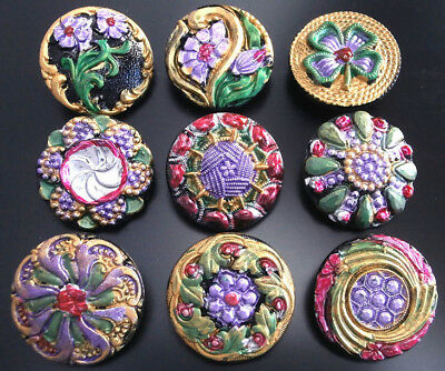 Collection of 9 Czech ANTIQUE (1920's) Glass Buttons #G739 - RARE !!!